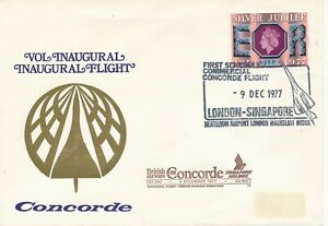 GB 1977 BA SINGAPORE AIRLINES FIRST FLIGHT CONCORDE AIRPLANE AIRLINE
