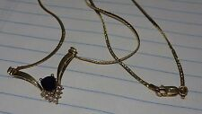 Vintage 14k 14ct 585 Yellow Gold Sapphire 0.2CT TW Diamond Necklace  Italy