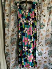 Vintage Andrade Resort Shops Hawaiian Flower Power Maxi dress Waterfall Back S