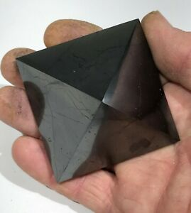 SHUNGITE CRYSTAL Pyramid Polished EMF Protection Heal Detox Karelia 168g 62mm B