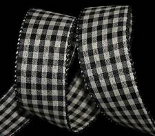 "5 Yards Black Ivory Country Gingham Plaid Wired Ribbon 1 1/2""W"