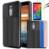 For LG Q7 Plus/Q7/Alpha Case Shockproof Hybrid Hard Cover+Glass Screen Protector