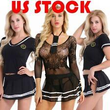 US Women Schoolgirl Cheerleading Uniform Costume Lingerie Set Halloween Cosplay