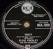 ELVIS PRESLEY ~ PARTY b/w GOT A LOT OF LIVIN TO DO HMV 78 RPM E- EX MINUS GRADE
