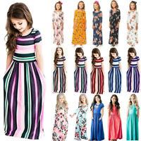 Kids Baby Girls Floral Long Maxi Shirt Dress Tunic Toddler Summer Beach Clothes