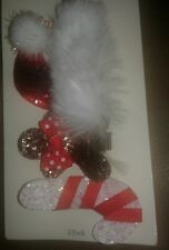 NWT Baby Girls 3 Pack santa hat,candy cane, gingerbread Bow Just One You Carters