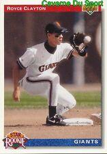 002 ROYCE CLAYTON SR SAN FRANCISCO GIANTS BASEBALL CARD UPPER DECK 1992