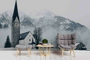 3D Ice Mountain House Landscape Self-adhesive Removable Wallpaper Murals Wall