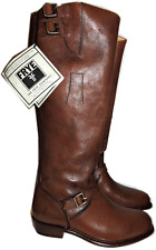 $648 Frye Dorado Boot Ridingtall Flat  Equestrian Buckles  Zipper Bootie 7 Brown