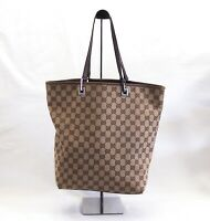 Authentic Gucci Shoulder bag Tote GG Canvas Monogram USED Women Brown