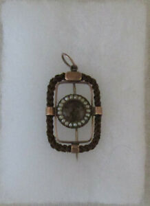 Fine Antique Victorian Brown Braided Hair Gold Mourning Pin, Very Nice