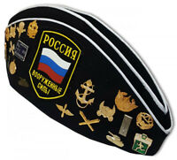 Black Pilotka Military Side Cap w/ Pins Russian Soldier Hat Garrison Cap