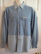 PEPE Jeans London Herren große ** gestreift blau Denim Shirt L/S Metall Nieten Knöpfe