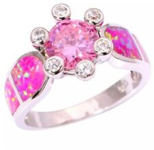 Stunning Quality Pink Fire Lab Opal & Sparkly Pink Crystal Silver Sz 8 Ring