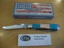 CASE XX KNIFE MINI TRAPPER ~ CUSTOM HAND FINISHED TURQUOISE / COPPER / NIB