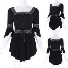 Retro Women Lace-Up Gothic Corset Short Sleeve Black Shirt Ladys Top Victorian *