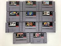 Lot of 11 Super Nintendo Games SNES Super Techmo Bowl Mario World NBA Jam WWF