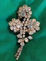 Rare Large Statement Vintage 50s Clear Rhinestone En Tremblant Floral Brooch VTG