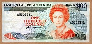 Eastern Caribbean States Central Bank 100 Dollars ND (1988-93) Pick 25L * RARE *