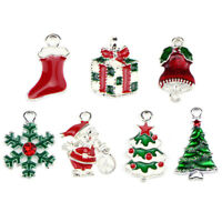 10PCS/Set Enamel Christmas Beads Charms Pendant Carfts DIY Jewelry FindingFBsa