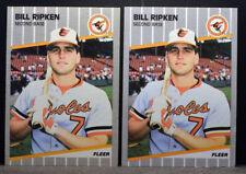 LOT 2 1989 Fleer #616 BILL RIPKEN Baltimore Orioles F*CK FACE BLACK BOX NM+