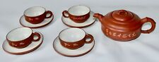 yixing teapot tea pot 4 cups saucers chinese antique pottery signed characters