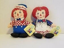 RAGGEDY ANN & ANDY BEAN BAG DOLLS WITH TAGS - APPLAUSE COLLECTIBLES