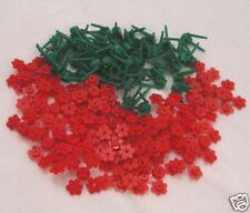 50 NEW RED LEGO FLOWERS bulk brick flower lot w/stems greenery plants garden