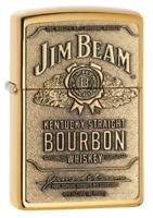 "Zippo ""Jim Beam Bourbon"" High Polish Brass Finish Emblem Lighter, 254BJB-929"