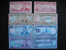 IRAQ  5 + 50 + 100 + 250 Dinars 1992-95  Saddam Hussein  (P80 + P83-85)  UNC