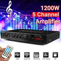 Sunbuck 110V 1200W 5Ch bluetooth Amplifier HiFi Amp Home Stereo Power USB SD FM