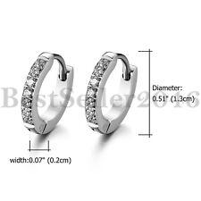 Men Women 13MM Stainless Steel Small Hoop Huggie CZ Inlaid Stud Earrings 2pcs