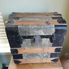 Antique Humpback Style Steamer Trunk - Toy Treasure Chest  Wood & Pressed Tin