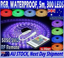 RGB LED Strip Lights Waterproof 5050 5M 300 LEDs SMD 12V + 20 Key RF Controller
