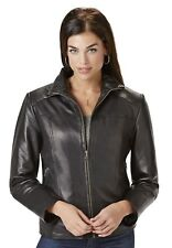 Excelled Women's Leather Scuba Jacket Soft Supple Black XL NWT