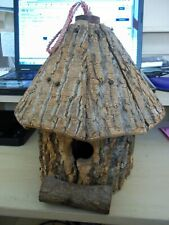 """VINTAGE TREE TRUNK BARK BIRD HOUSE FEEDER NEVER USED 13""""T HANG STAND UNUSUAL **"""