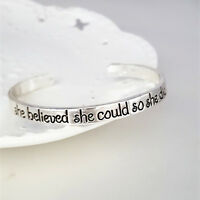 """""""she believed she could so she did'' Cuff Bracelet Bangle Love Fashion Jewelry"""