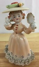 Vintage Porcelain Victorian Colonial Woman Figurine w/ Vegetables on Hat- Ruffle