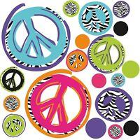 ZEBRA PEACE SIGNS 26 BiG Wall Stickers Room Decor Decals Black Purple Pink Blue