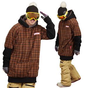 December long tall hoodie ski snowboard-tartan brown