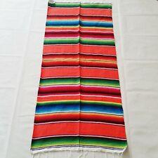 Mexican Falsa Blanket Small Sarape Yoga Mat Orange/Colorful Aztec Striped Design