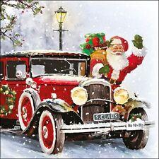 5  x   Paper Napkins for Decoupage Santa Automobile Napkin Art