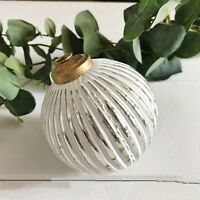 7cm White Silver & Gold Round Ribbed Glass Bauble Vintage Christmas Decoration