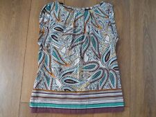 DOROTHY PERKINS COTTON CAP SLEEVED PRINTED TOP TUNIC SIZE 10
