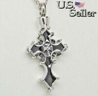 Black Cross Cremation Urn Necklace | Memorial Jewelry | Ashes Holder Keepsake