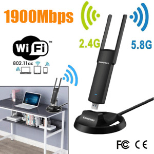 1900Mbps USB WiFi Adapter USB 3.0/2.0 Dual Band 4G/5Ghz 2x Antennas WiFi Dongle