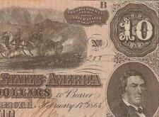 1864 $10 Dollar Low 200 Confederate States Currency Civil War Note Money T-68