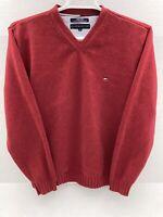 Tommy Hilfiger V Neck Cotton Sweater Long Sleeve Mens Large L