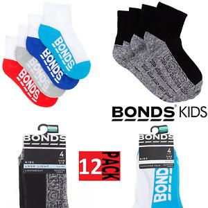 12 X Bonds Kids 1/4 Crew Socks - Quarter Sports Socks