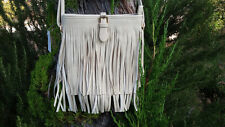 Beige Fringe Purse - Handbag - Vegan Leather crossbody bag